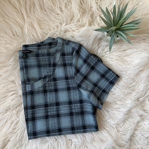 Navy & Blue Checkered Blouse